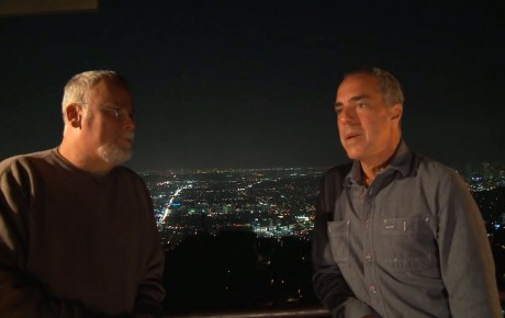 Bosch: Michael Connelly and Titus Welliver on set