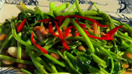 Water spinach and soy beans recipe